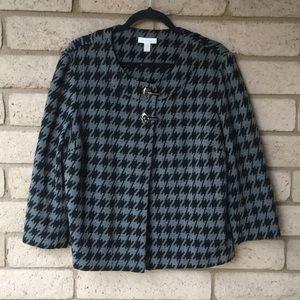 Charter Club Jacket Houndstooth Black & Grey